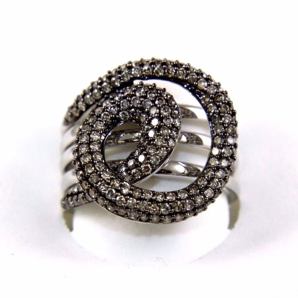 93b1f12316f19 Diamond Cluster Spiral Swirl Ring 14k WG 1.48Ct Boutique